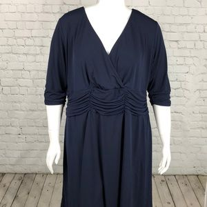 NY Collection Navy Ruched Waist Midi Dress Sz 3XP